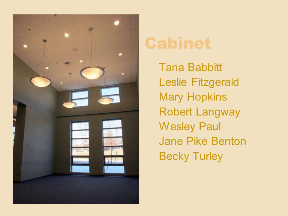 Cabinet Tana Babbitt Leslie Fitzgerald Mary Hopkins Robert Langway Wesley Paul Jane Pike Benton Becky Turley