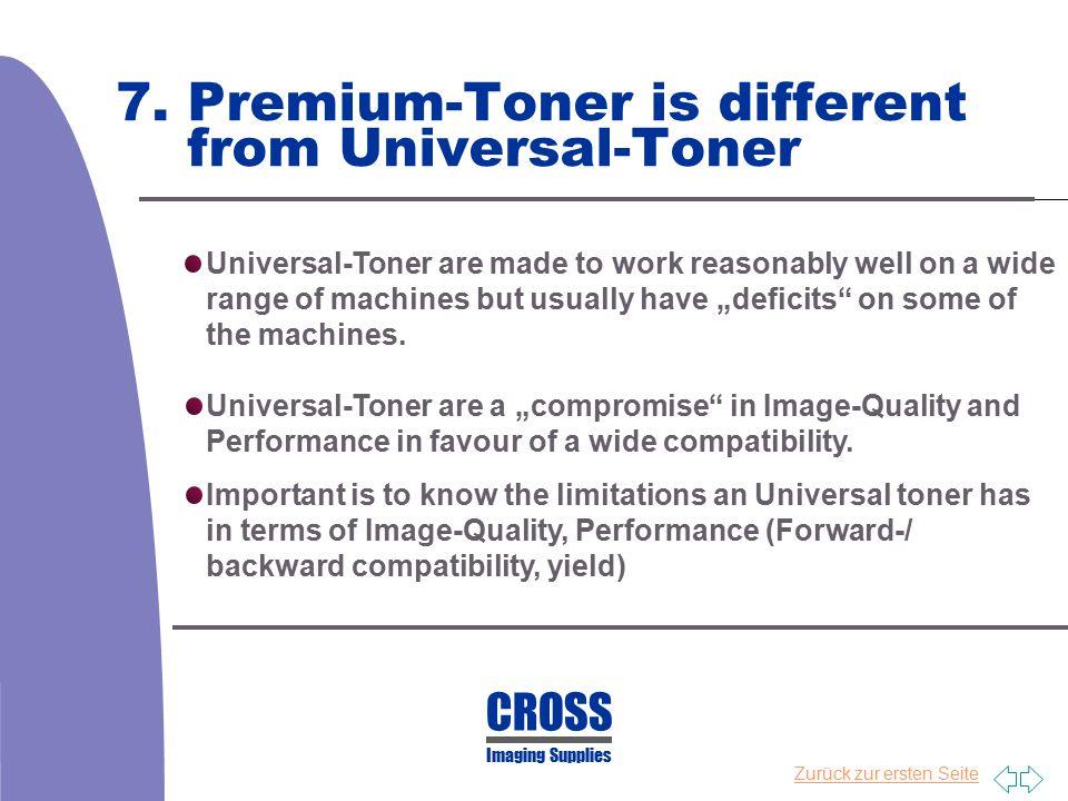Zurück zur ersten Seite 7. Premium-Toner is different from Universal-Toner Universal-Toner are made to work reasonably well on a wide range of machine