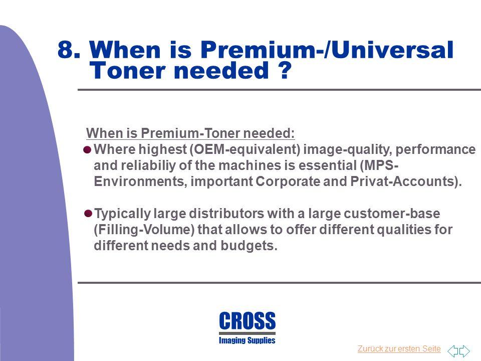 Zurück zur ersten Seite 8. When is Premium-/Universal Toner needed ? When is Premium-Toner needed: Where highest (OEM-equivalent) image-quality, perfo