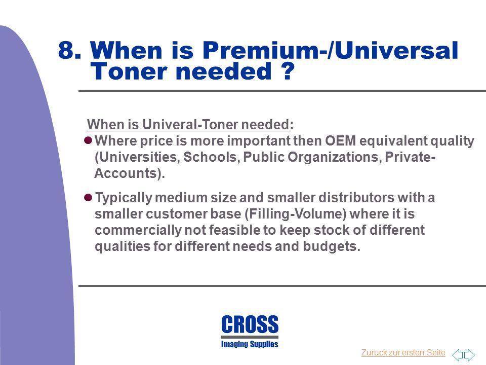 Zurück zur ersten Seite 8. When is Premium-/Universal Toner needed ? When is Univeral-Toner needed: Where price is more important then OEM equivalent