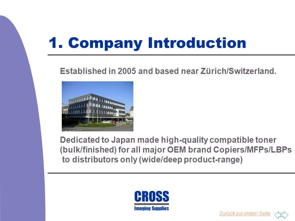 Zurück zur ersten Seite 1. Company Introduction Established in 2005 and based near Zürich/Switzerland. Dedicated to Japan made high-quality compatible