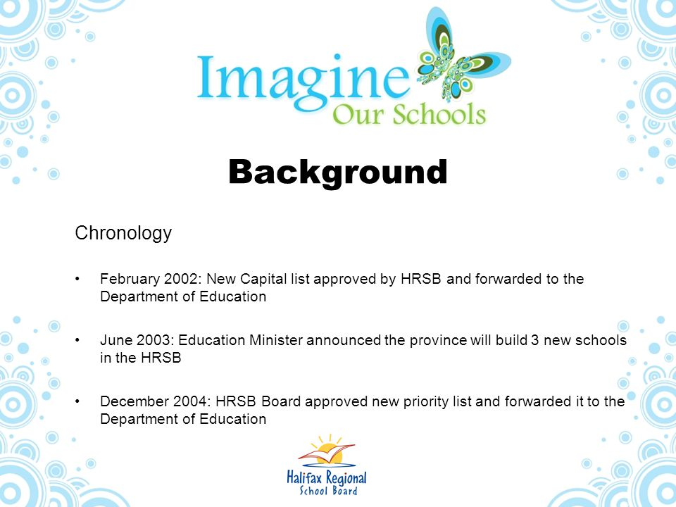 Background Chronology February 2002: New Capital list approved by HRSB and forwarded to the Department of Education June 2003: Education Minister anno