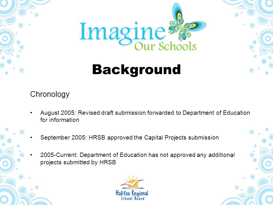 Background Chronology August 2005: Revised draft submission forwarded to Department of Education for information September 2005: HRSB approved the Cap