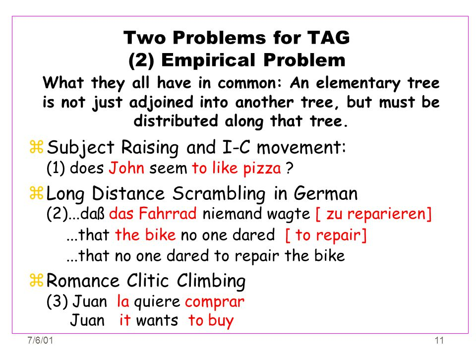 7/6/0111 Two Problems for TAG (2) Empirical Problem zSubject Raising and I-C movement: (1) does John seem to like pizza ? zLong Distance Scrambling in