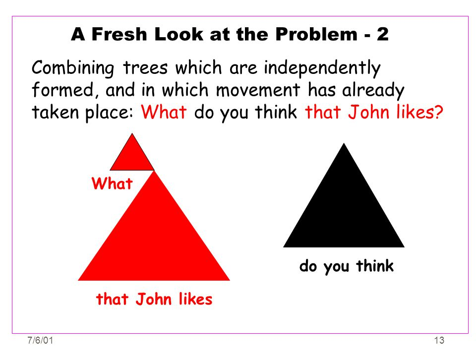 7/6/0113 A Fresh Look at the Problem - 2 Combining trees which are independently formed, and in which movement has already taken place: What do you th