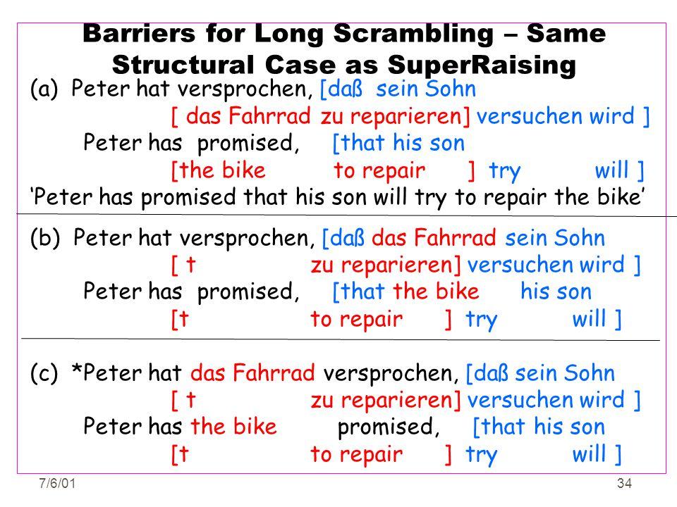 7/6/0134 Barriers for Long Scrambling – Same Structural Case as SuperRaising (a) Peter hat versprochen, [daß sein Sohn [ das Fahrrad zu reparieren] ve