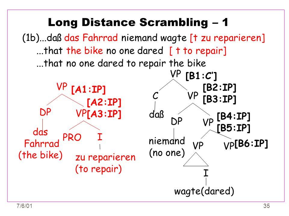 7/6/0135 Long Distance Scrambling – 1 (1b)...daß das Fahrrad niemand wagte [t zu reparieren]...that the bike no one dared [ t to repair]...that no one