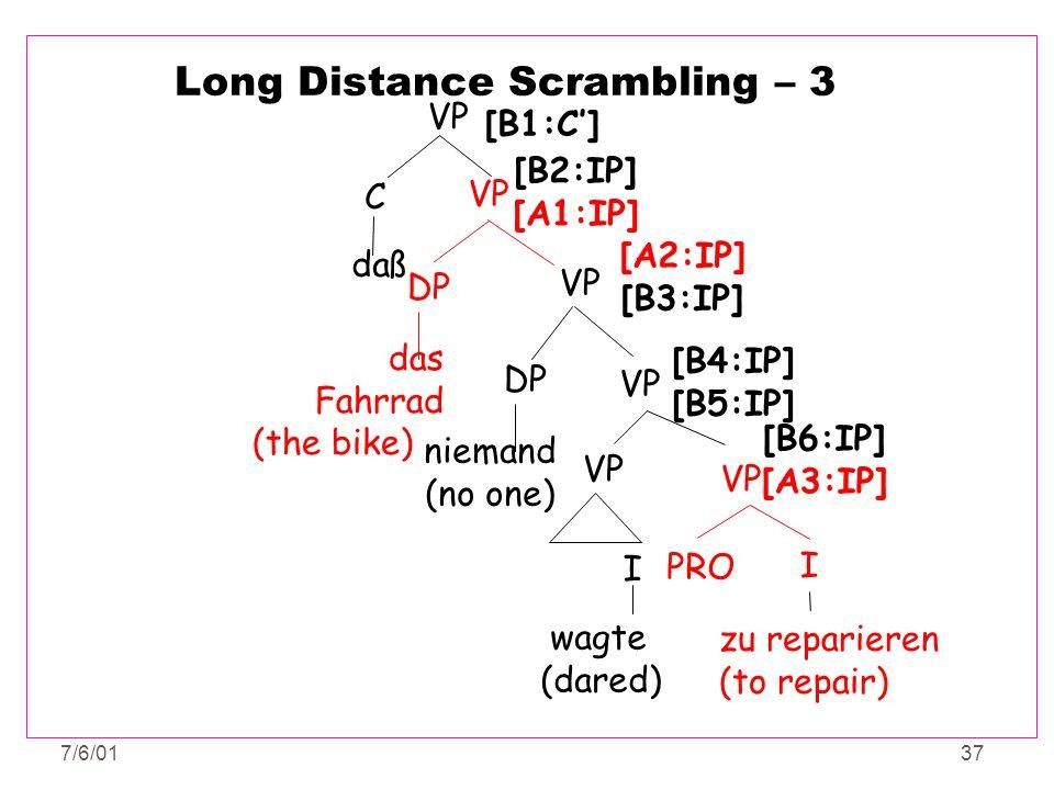 7/6/0137 Long Distance Scrambling – 3 PRO VP I zu reparieren (to repair) [B6:IP] [A3:IP] VP DP das Fahrrad (the bike) [B2:IP] [A1:IP] VP niemand (no o