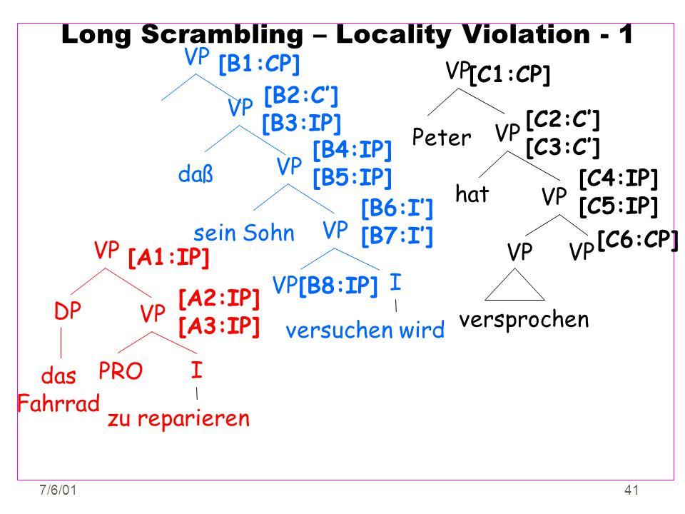 7/6/0141 Long Scrambling – Locality Violation - 1 VP PRO VP DP I zu reparieren das Fahrrad [A1:IP] [A2:IP] [A3:IP] versuchen wird [B8:IP] VP I [B6:I']