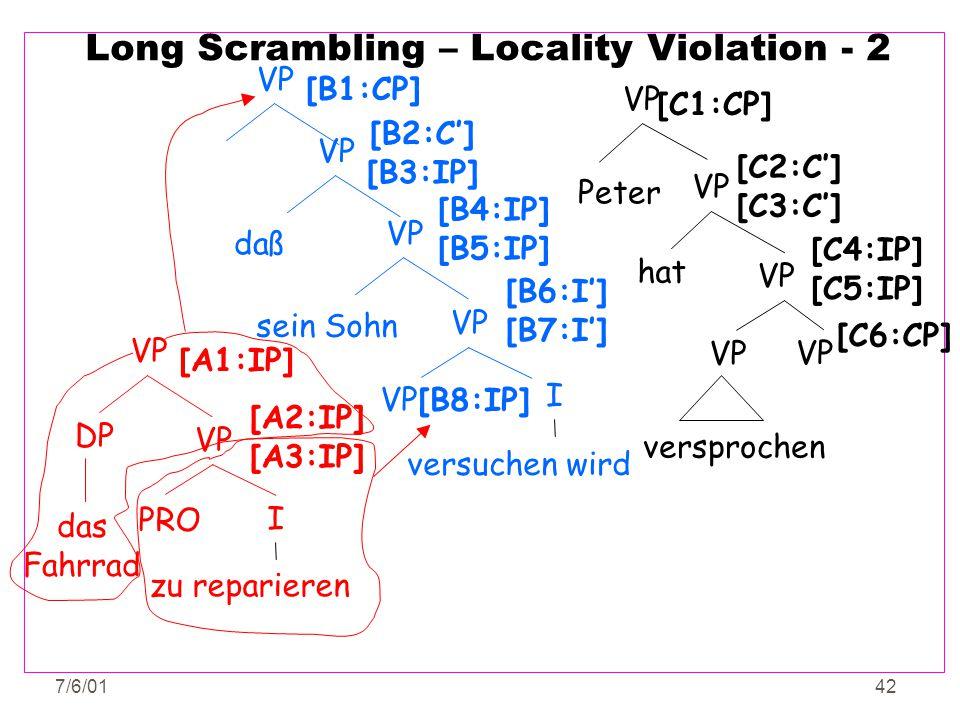 7/6/0142 Long Scrambling – Locality Violation - 2 VP PRO VP DP I zu reparieren das Fahrrad [A1:IP] [A2:IP] [A3:IP] versuchen wird [B8:IP] VP I [B6:I']