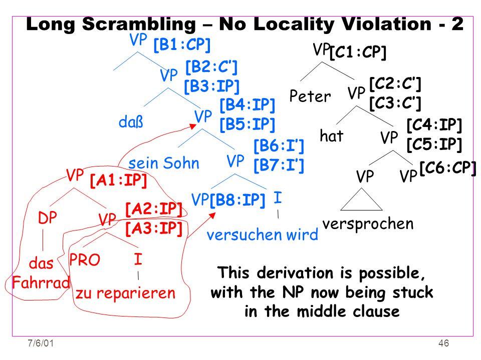 7/6/0146 Long Scrambling – No Locality Violation - 2 VP PRO VP DP I zu reparieren das Fahrrad [A1:IP] [A2:IP] [A3:IP] versuchen wird [B8:IP] VP I [B6: