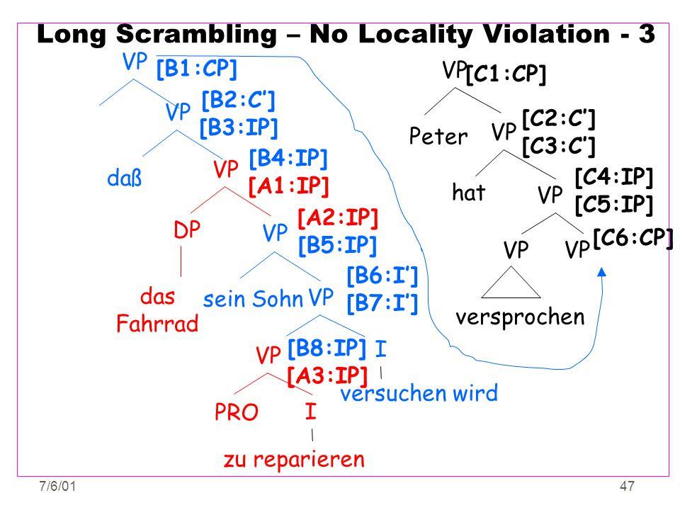 7/6/0147 Long Scrambling – No Locality Violation - 3 I VP PRO zu reparieren VP DP das Fahrrad [B4:IP] [A1:IP] versuchen wird [B8:IP] [A3:IP] VP I [B6:
