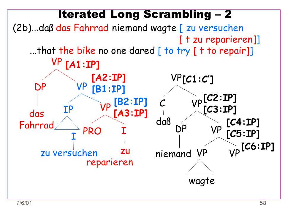 7/6/0158 Iterated Long Scrambling – 2 (2b)...daß das Fahrrad niemand wagte [ zu versuchen [ t zu reparieren]]...that the bike no one dared [ to try [