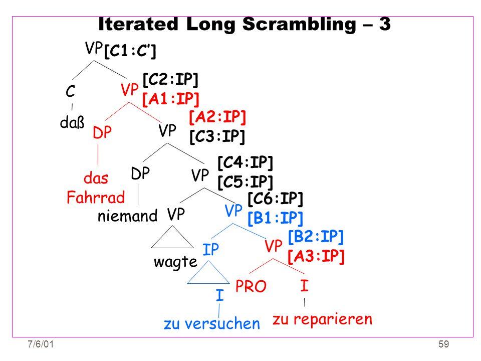 7/6/0159 Iterated Long Scrambling – 3 VP DP das Fahrrad [C2:IP] [A1:IP] VP PRO I zu reparieren [B2:IP] [A3:IP] VP IP zu versuchen I [A2:IP] [C3:IP] VP