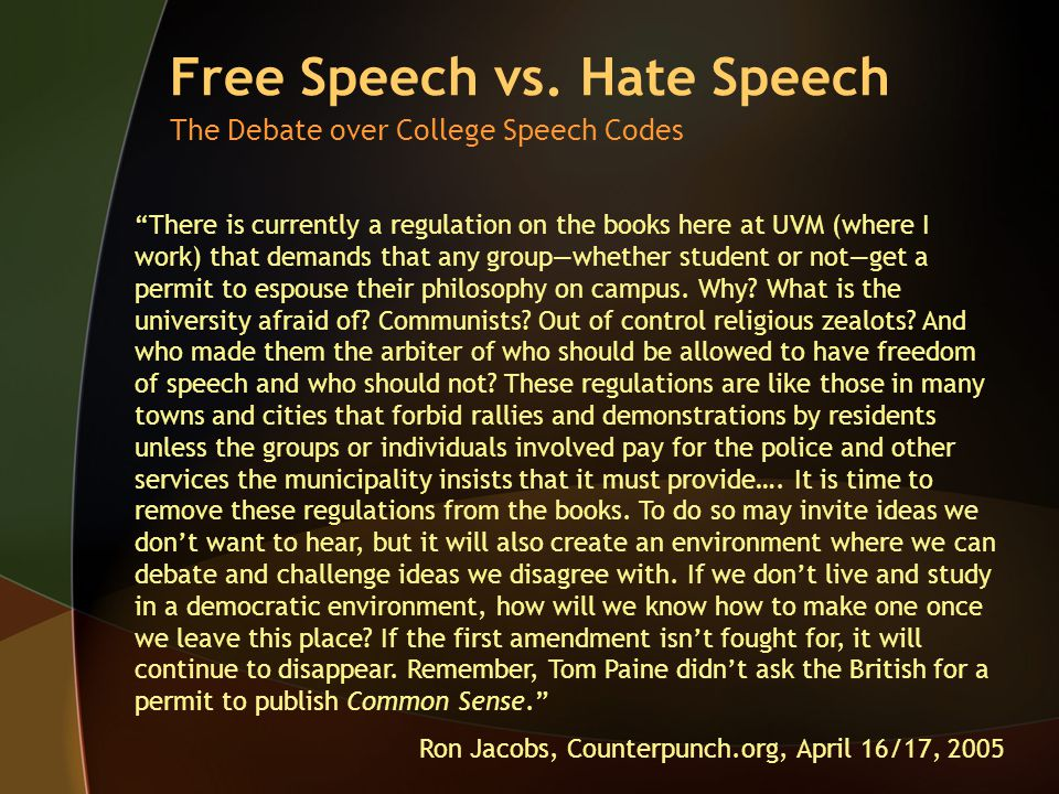 Free Speech vs.