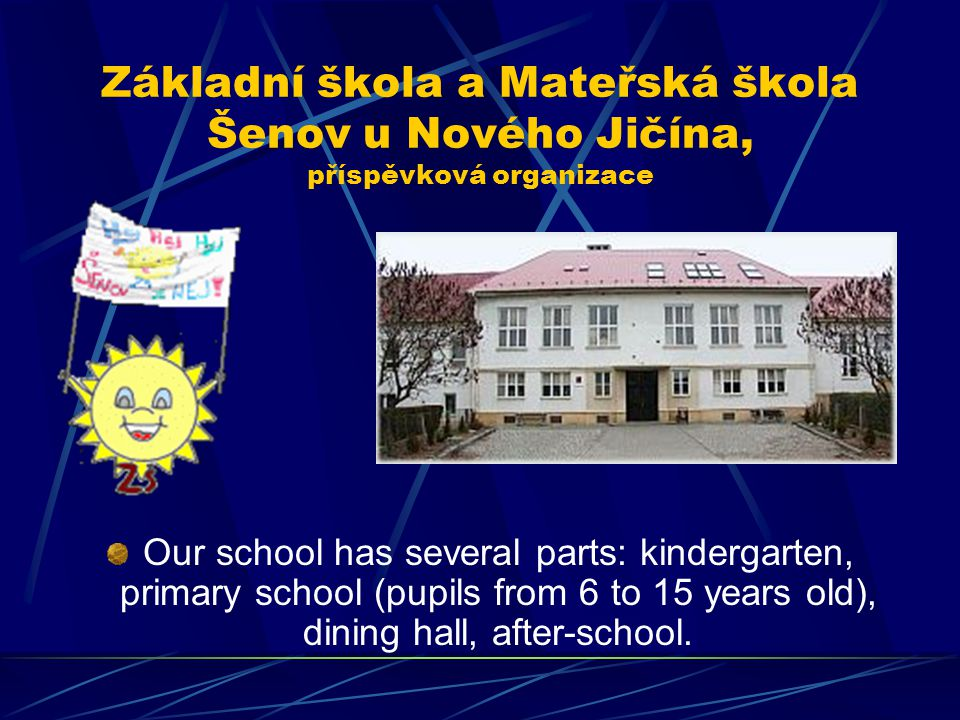 Základní škola a Mateřská škola Šenov u Nového Jičína, příspěvková organizace Our school has several parts: kindergarten, primary school (pupils from 6 to 15 years old), dining hall, after-school.