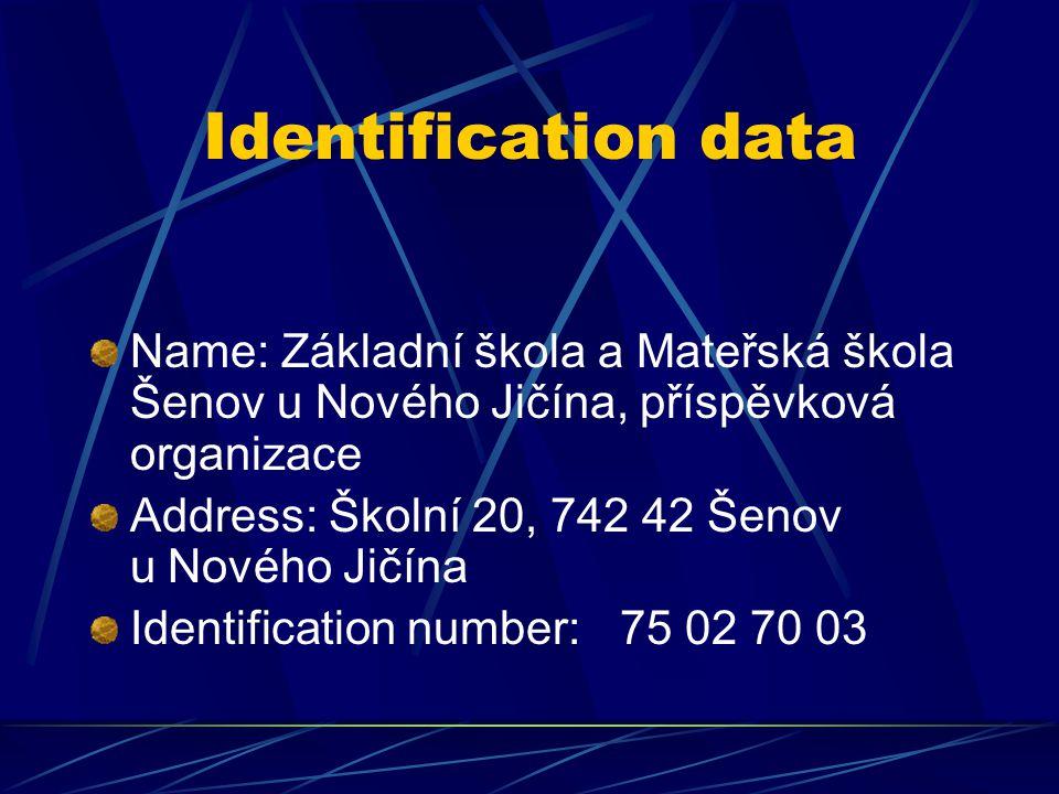 Identification data Name: Základní škola a Mateřská škola Šenov u Nového Jičína, příspěvková organizace Address: Školní 20, 742 42 Šenov u Nového Jičína Identification number:75 02 70 03