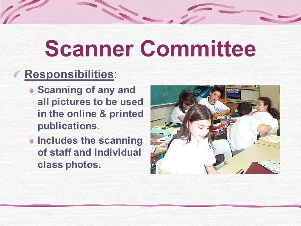 Photography Committee Responsibilities: Using the digital camera and/or digital video camera to record any events taking place in the school. Uploadin