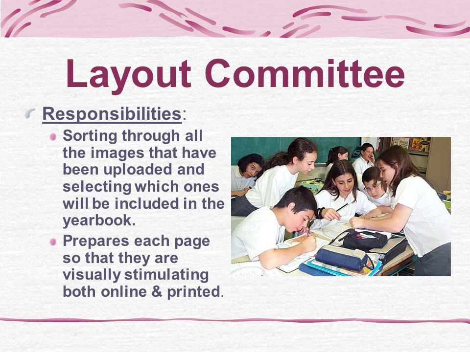 Scanner Committee Responsibilities: Scanning of any and all pictures to be used in the online & printed publications. Includes the scanning of staff a