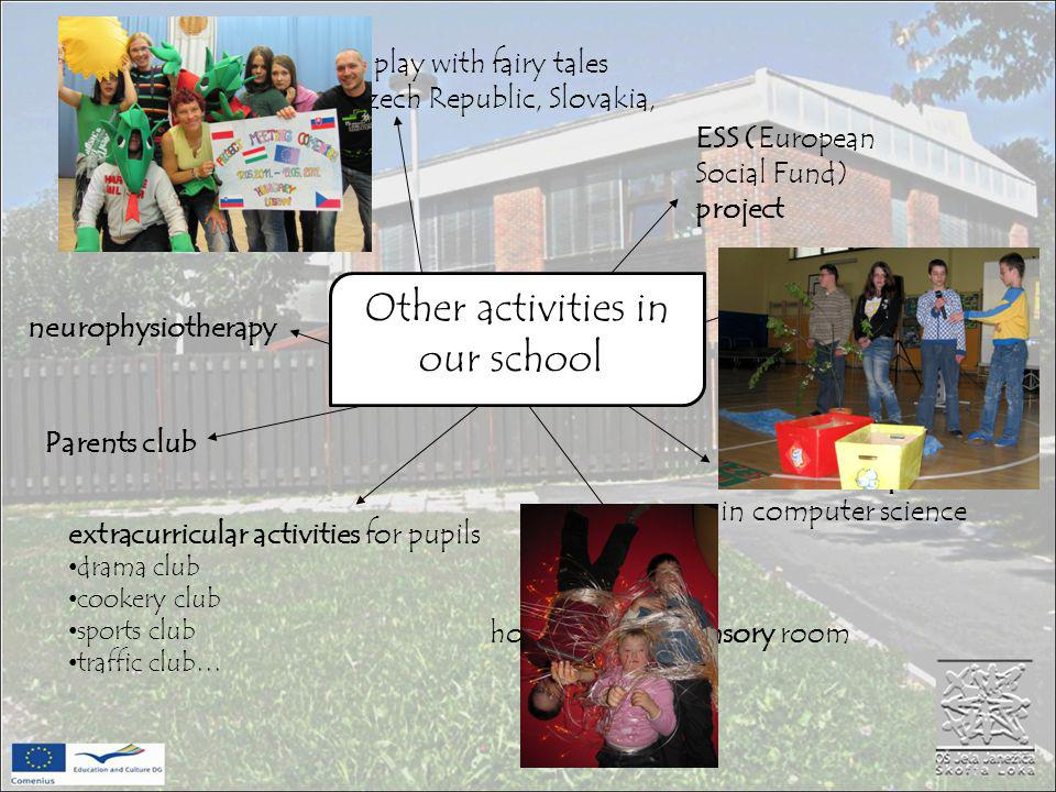 Comenius project – Let s play with fairy tales our partners: Hungary, Czech Republic, Slovakia, Poland, Project - Eko school national competition in computer science Other activities in our school ESS (European Social Fund) project neurophysiotherapy hours in multi-sensory room Parents club extracurricular activities for pupils drama club cookery club sports club traffic club…