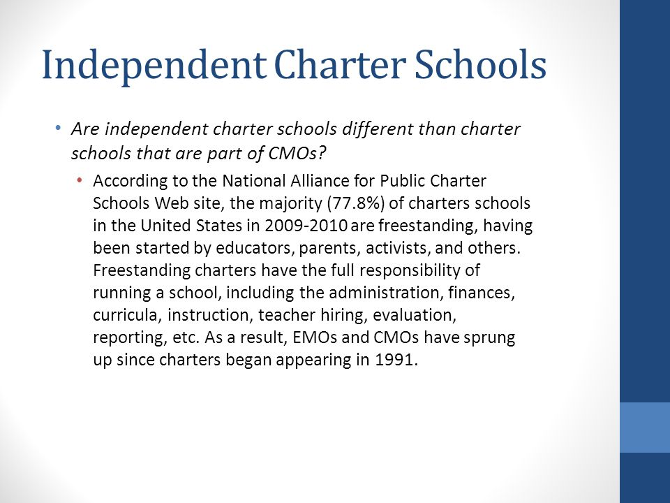 Independent Charter Schools Are independent charter schools different than charter schools that are part of CMOs.