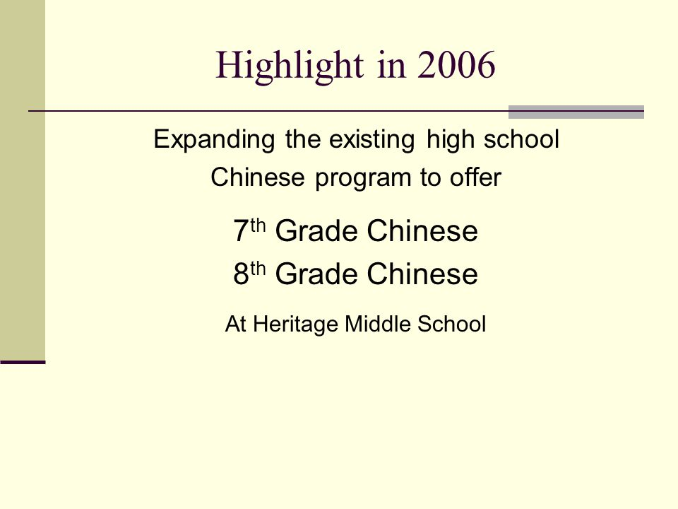 Highlight in 2006 Expanding the existing high school Chinese program to offer 7 th Grade Chinese 8 th Grade Chinese At Heritage Middle School