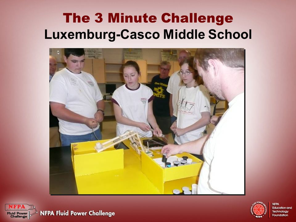 The 3 Minute Challenge Luxemburg-Casco Middle School