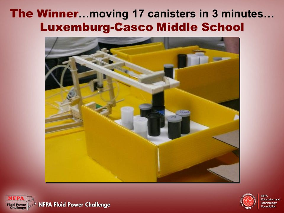 The Winner …moving 17 canisters in 3 minutes… Luxemburg-Casco Middle School