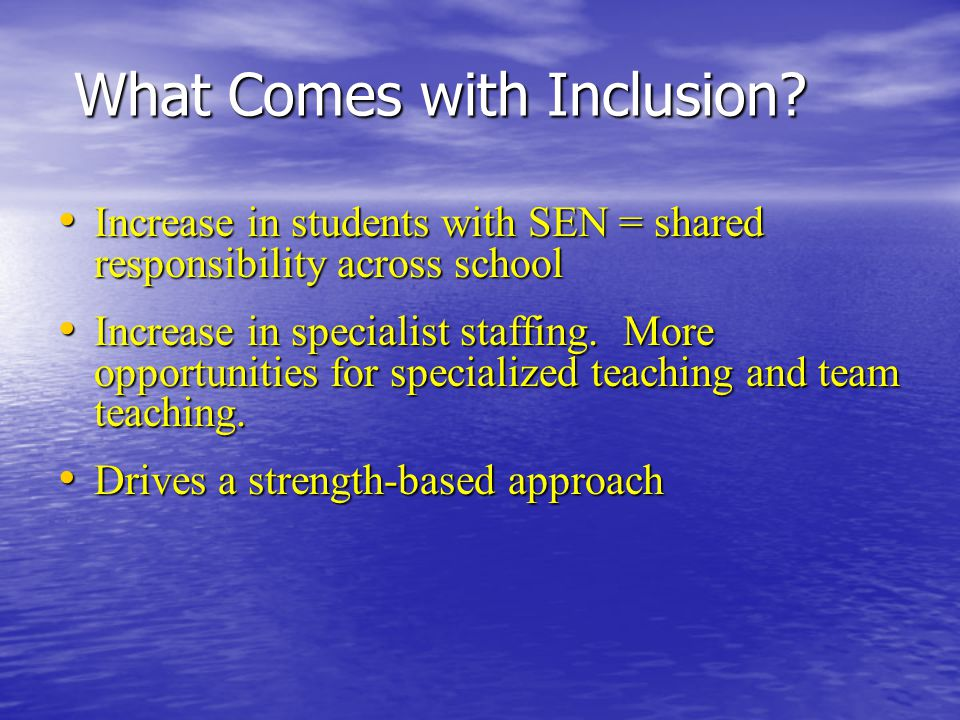 What Comes with Inclusion? Increase in students with SEN = shared responsibility across school Increase in students with SEN = shared responsibility a