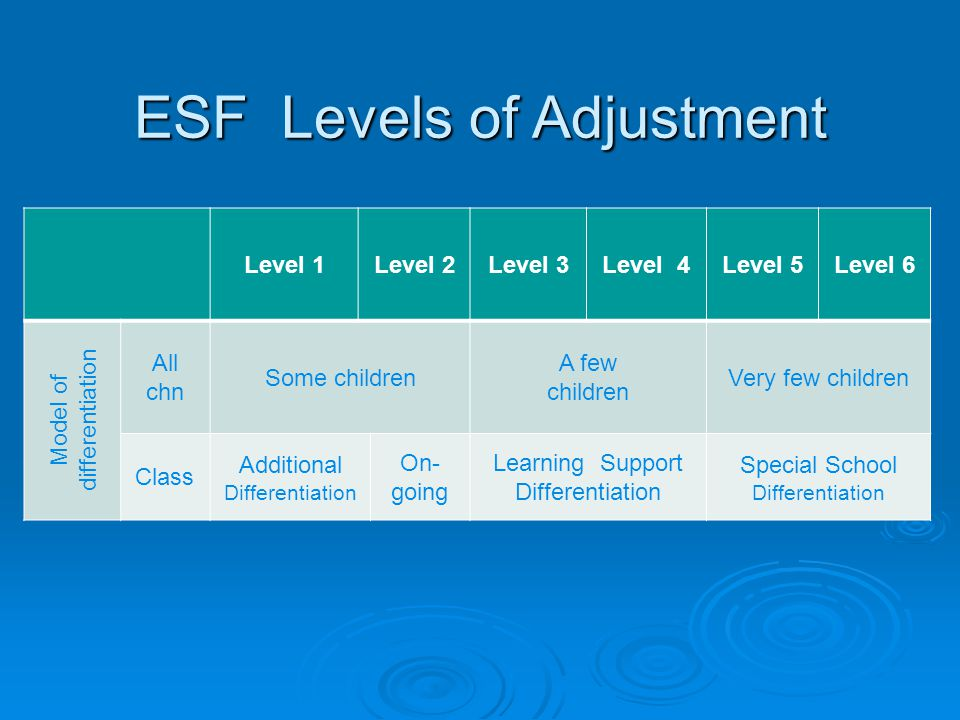 ESF Levels of Adjustment Level 1Level 2Level 3Level 4Level 5Level 6 Model of differentiation All chn Some children A few children Very few children Cl