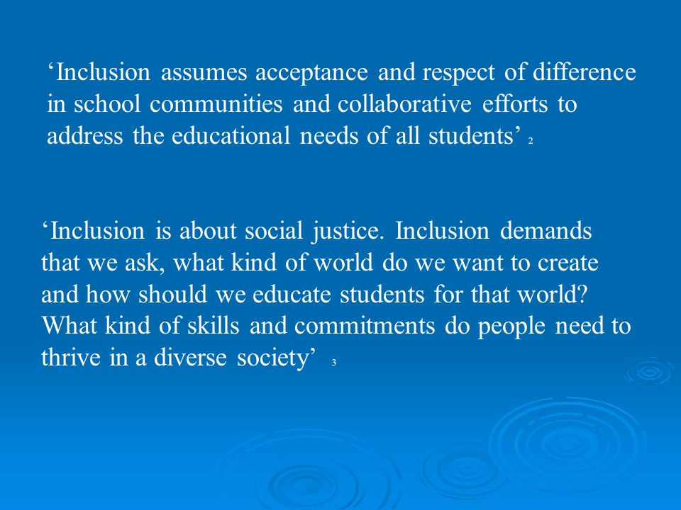 'Inclusion assumes acceptance and respect of difference in school communities and collaborative efforts to address the educational needs of all studen