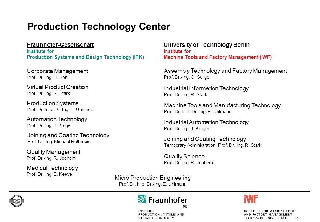 Production Technology Center Quality Management Prof. Dr.-Ing. R. Jochem Virtual Product Creation Prof. Dr.-Ing. R. Stark Corporate Management Prof. D