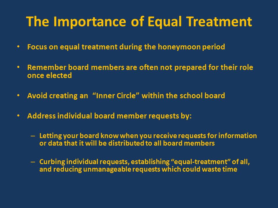 Key Point #4 Keep in mind that the individual you will speak with most in the district is the board president.