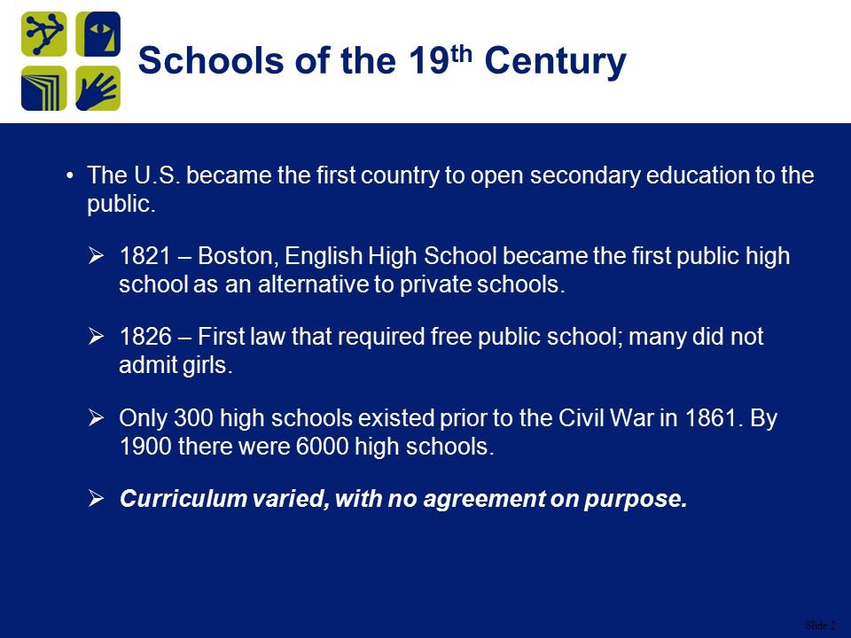 Slide 2 Schools of the 19 th Century The U.S.