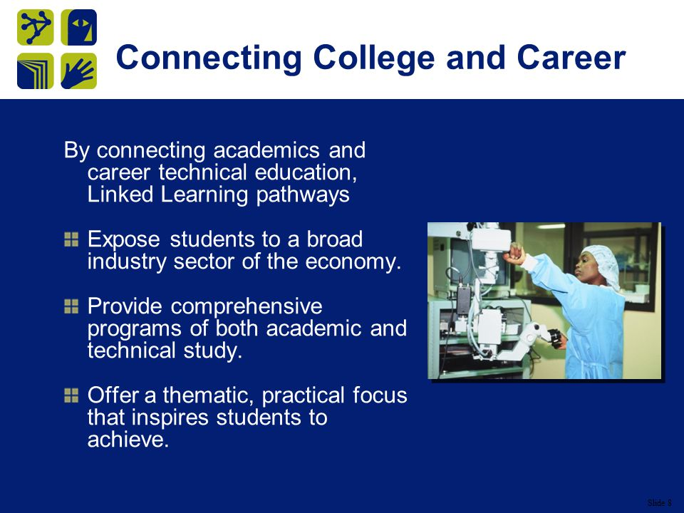 Slide 8 Connecting College and Career By connecting academics and career technical education, Linked Learning pathways Expose students to a broad industry sector of the economy.