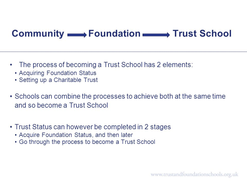 Community Foundation Trust School The process of becoming a Trust School has 2 elements: Acquiring Foundation Status Setting up a Charitable Trust Sch