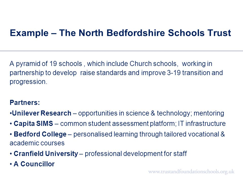 Example – The North Bedfordshire Schools Trust A pyramid of 19 schools, which include Church schools, working in partnership to develop raise standard