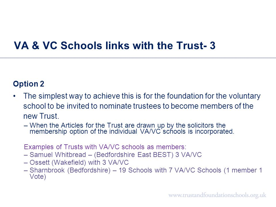 VA & VC Schools links with the Trust- 3 Option 2 The simplest way to achieve this is for the foundation for the voluntary school to be invited to nomi