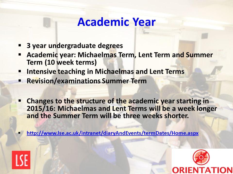 Academic Year  3 year undergraduate degrees  Academic year: Michaelmas Term, Lent Term and Summer Term (10 week terms)  Intensive teaching in Micha