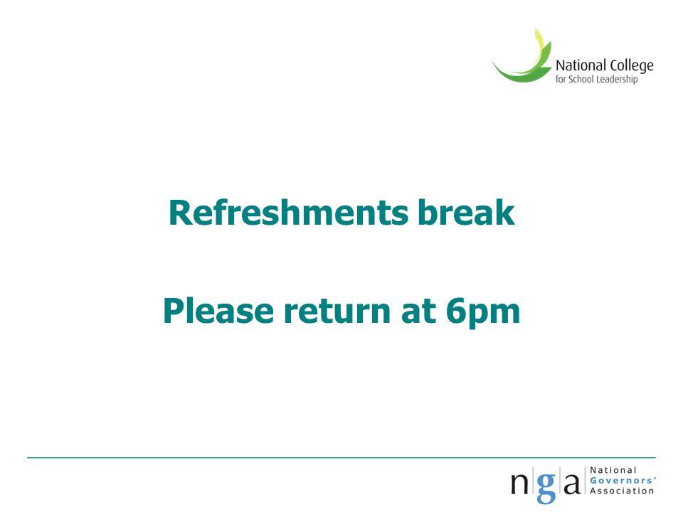 Refreshments break Please return at 6pm