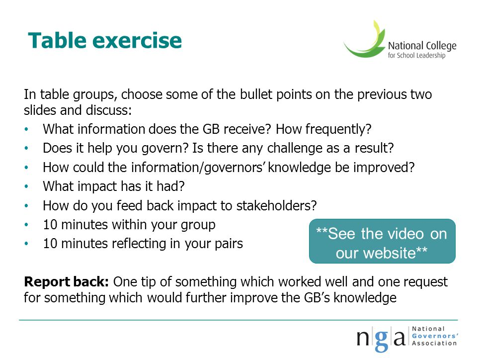 Table exercise In table groups, choose some of the bullet points on the previous two slides and discuss: What information does the GB receive? How fre