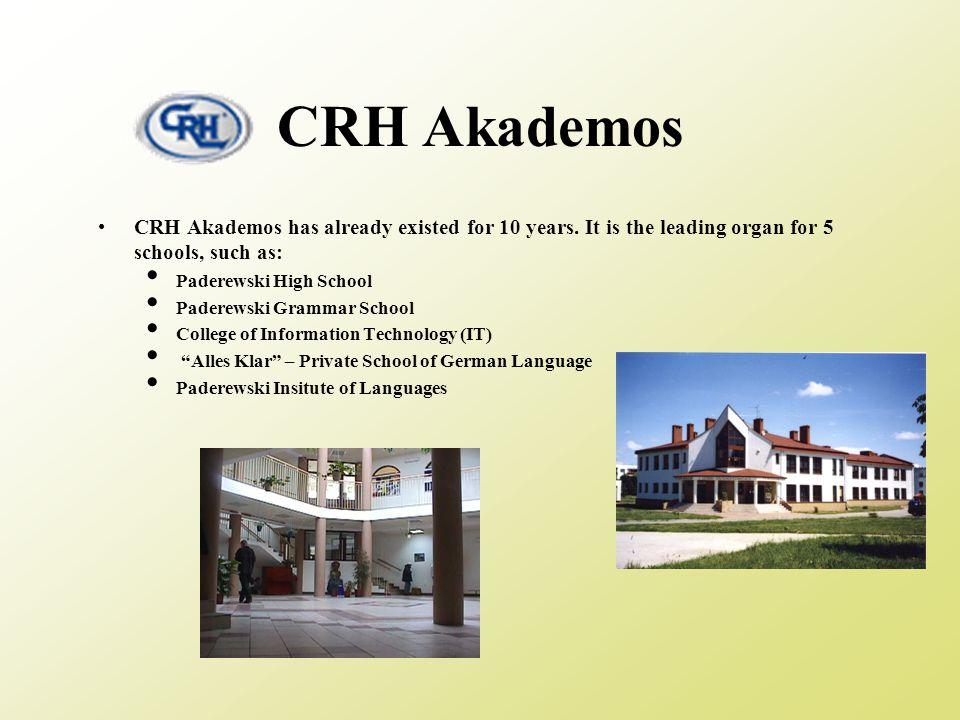 CRH Akademos CRH Akademos has already existed for 10 years.