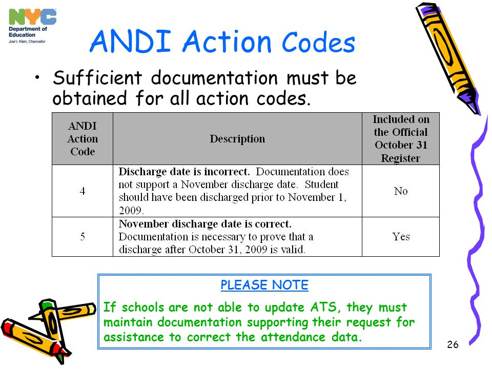 26 ANDI Action Codes PLEASE NOTE If schools are not able to update ATS, they must maintain documentation supporting their request for assistance to correct the attendance data.