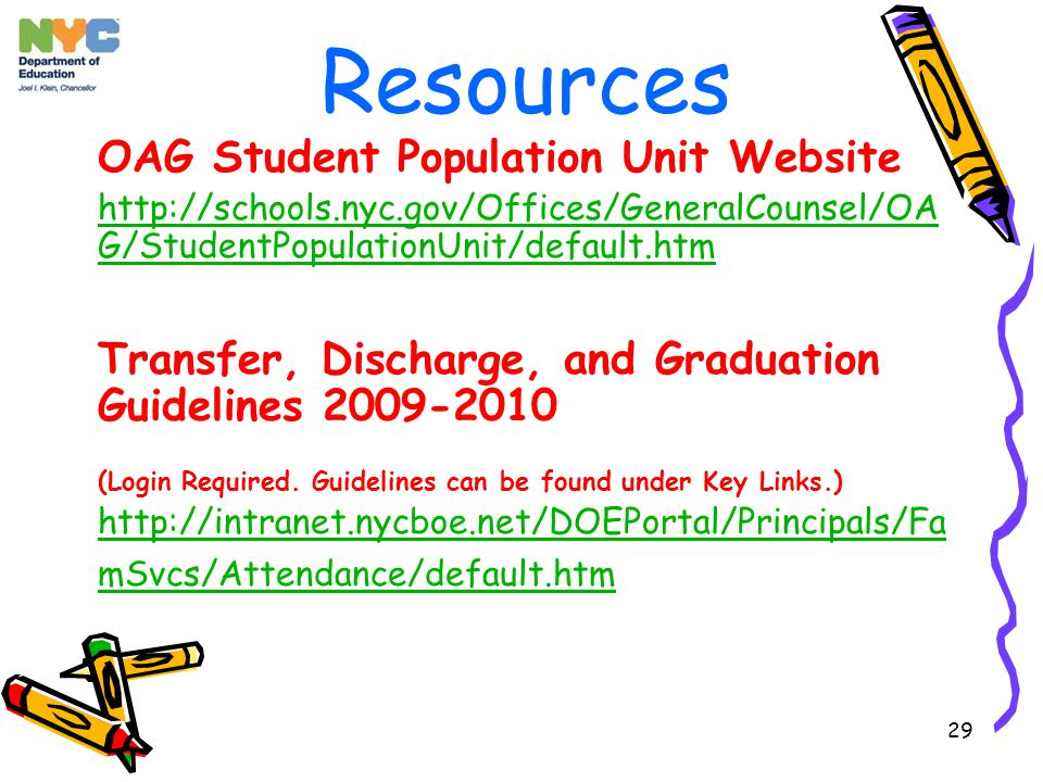 29 Resources OAG Student Population Unit Website http://schools.nyc.gov/Offices/GeneralCounsel/OA G/StudentPopulationUnit/default.htm Transfer, Discharge, and Graduation Guidelines 2009-2010 (Login Required.