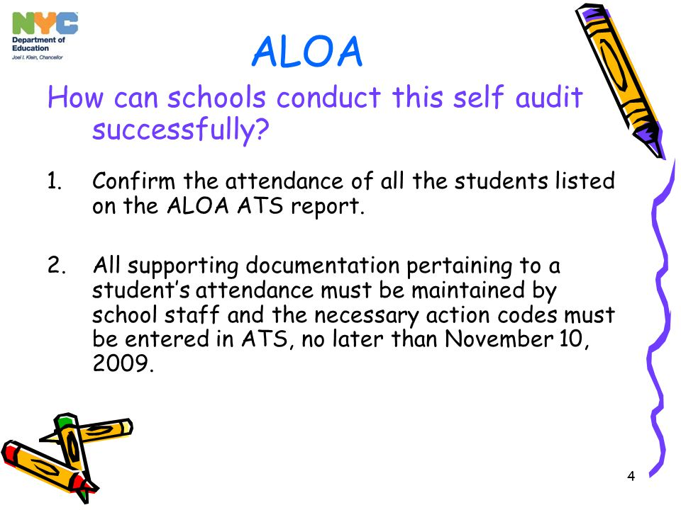 4 ALOA How can schools conduct this self audit successfully.