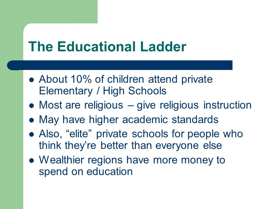 The Educational Ladder About 10% of children attend private Elementary / High Schools Most are religious – give religious instruction May have higher academic standards Also, elite private schools for people who think they're better than everyone else Wealthier regions have more money to spend on education