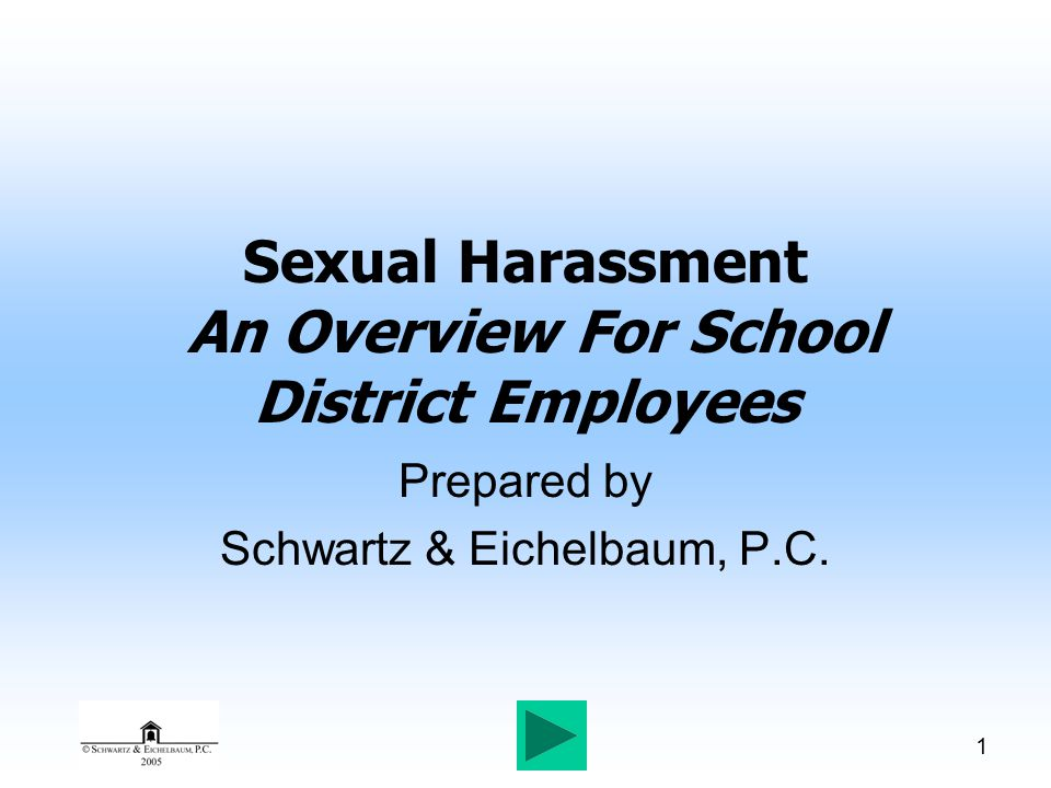 1 Sexual Harassment An Overview For School District Employees Prepared by Schwartz & Eichelbaum, P.C.