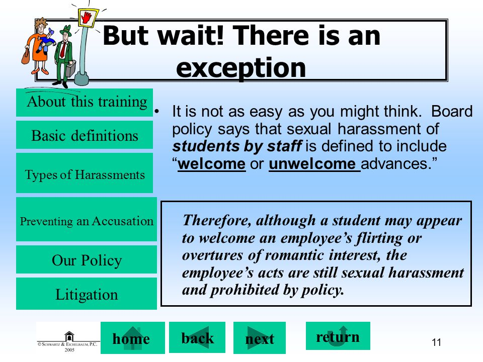 Preventing an Accusation back next About this training Basic definitions Types of Harassments Our Policy return home Litigation 11 But wait.