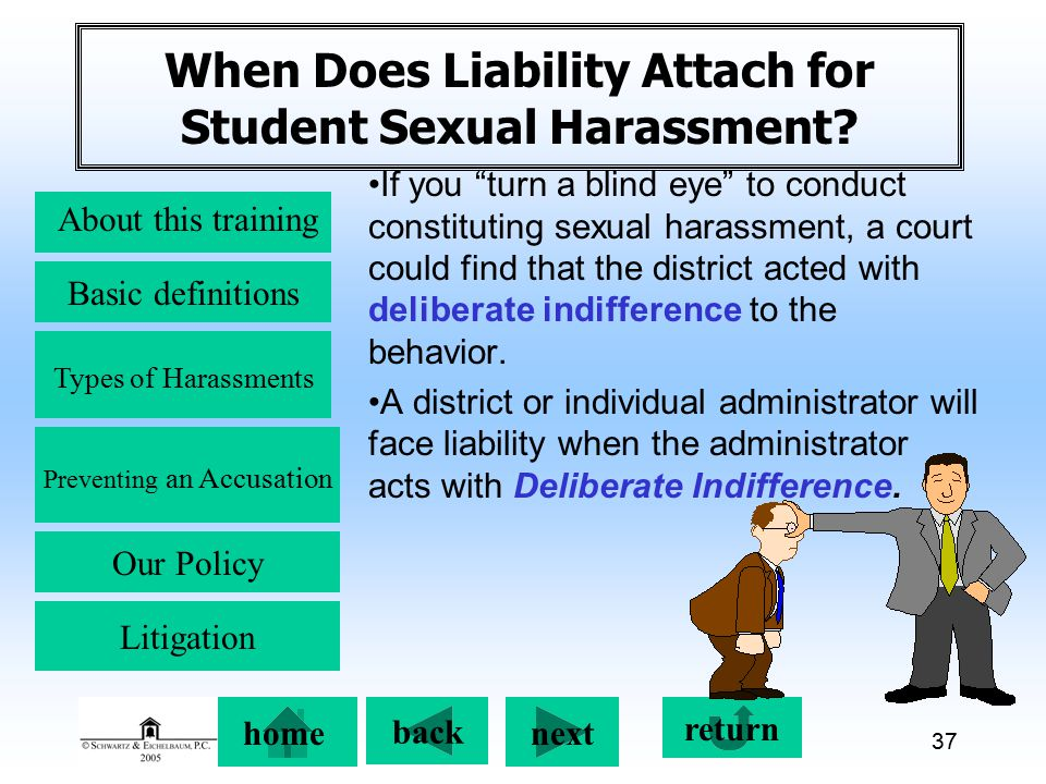 Preventing an Accusation back next About this training Basic definitions Types of Harassments Our Policy return home Litigation 37 When Does Liability Attach for Student Sexual Harassment.