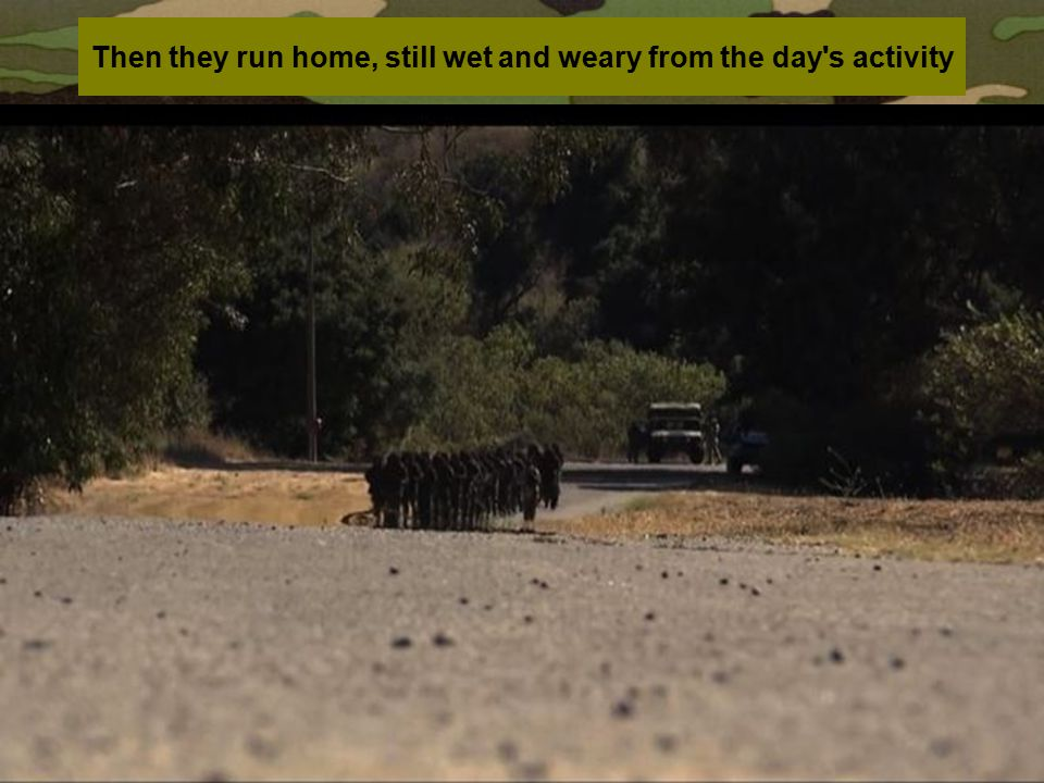Then they run home, still wet and weary from the day's activity